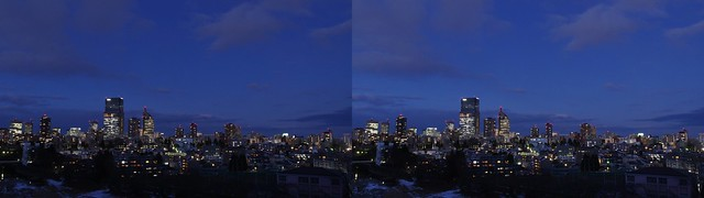 Central of Sendai at twilight, 4K UHD, stereo parallel view