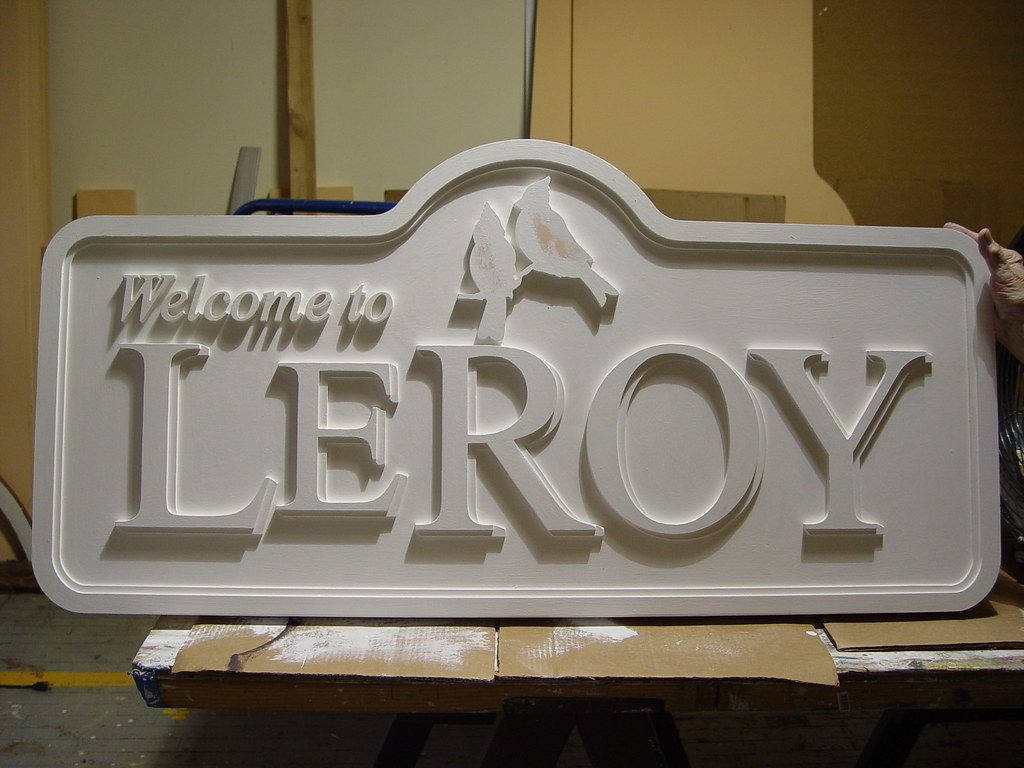 Painting HDU Routed Signs by Strata   Custom Wooden Outdoor