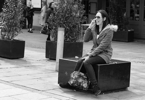 street people blackandwhite bw woman white black blancoynegro monochrome face mobile person photography mono nikon sitting phone noiretblanc zwartwit candid unposed seated 黑白 biancoenero schwarzundweis justard