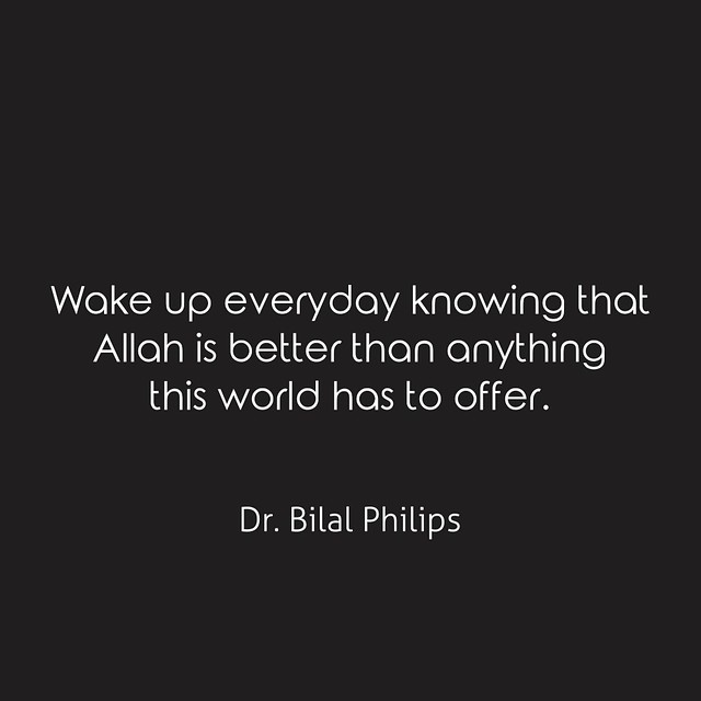 Wake up everyday knowing that Allah is better than anything this world has to offer. Dr. Bilal Philips