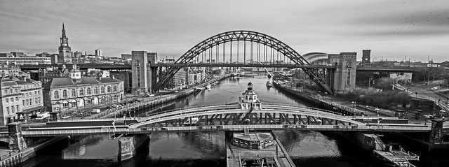 Swing Bridge and Tyne Bridge B & W
