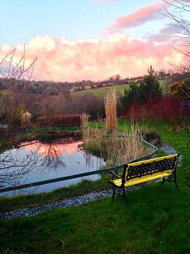 ireland sunset irish reflection water clouds landscape pond scenery cork redsky newmarket iphone5