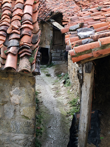 Tile roofs and a narrow alley in a village in the Picos de Europa in Spain