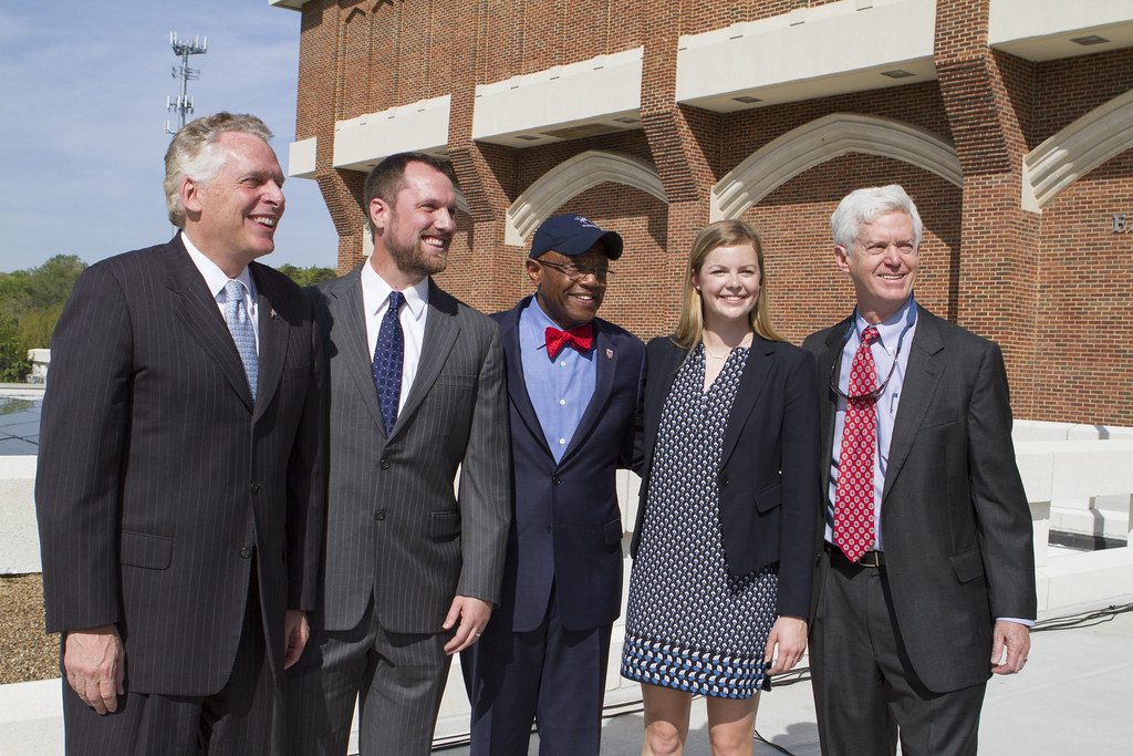 Governor Terry McAuliffe, Director of Sustainability Rob Andrejewski, UR President Ronald Crutcher, Zoe Kolberg-Shuler, '18, Secure Futures Presid...