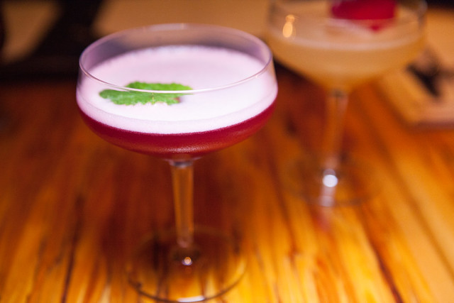 Beety Street - Jim Beam bourbon, dry curaco, orange vermouth, fresh beet juice, ginger, pineapple juice, Laphroaig mist