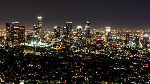 skyline cityscape view vista skyscraper tower night lights city griffithpark griffithobservatory observatory downtown downtownlosangeles cityofangels losangeles la losangelescounty socal southerncalifornia california ca unitedstates usa nikon d7100 nikond7100