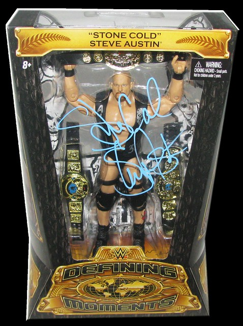 Stone Cold Steve Austin Autographed Mattel WWE Defining Moments Figure