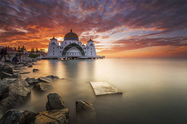Malacca straits mosque during sunrise.