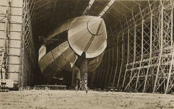 R100 Airship in its hangar at Howden Aerodrome 1933 (archive ref DDX1017-1)
