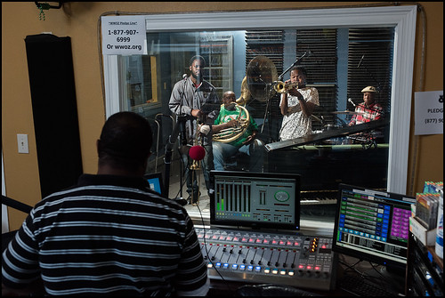 Keith Hill watched Joe Lastie's band perform at WWOZ 2016 Spring Pledge Drive on March 18, 2016. Photo by Ryan Hodgson-Rigsbee www.rhrphoto.com