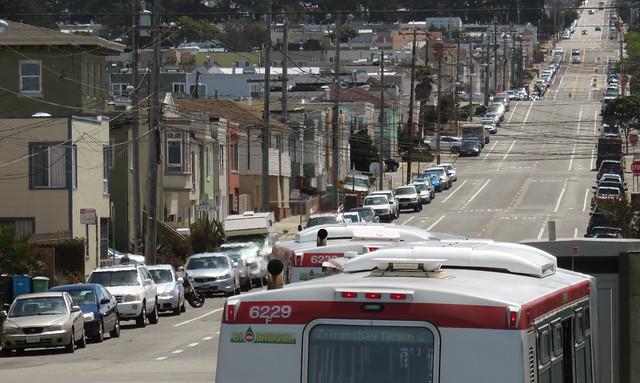 Bio-Diesel MUNI buses in The Sunset, San Francisco (2015)