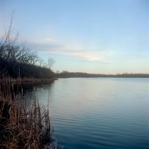 winter sunset lake 120 6x6 tlr film nature water analog mediumformat square landscape illinois kodak ishootfilm photoaday yashica barrington yashicamat124g project365 filmisnotdead ektar100 bakerslake
