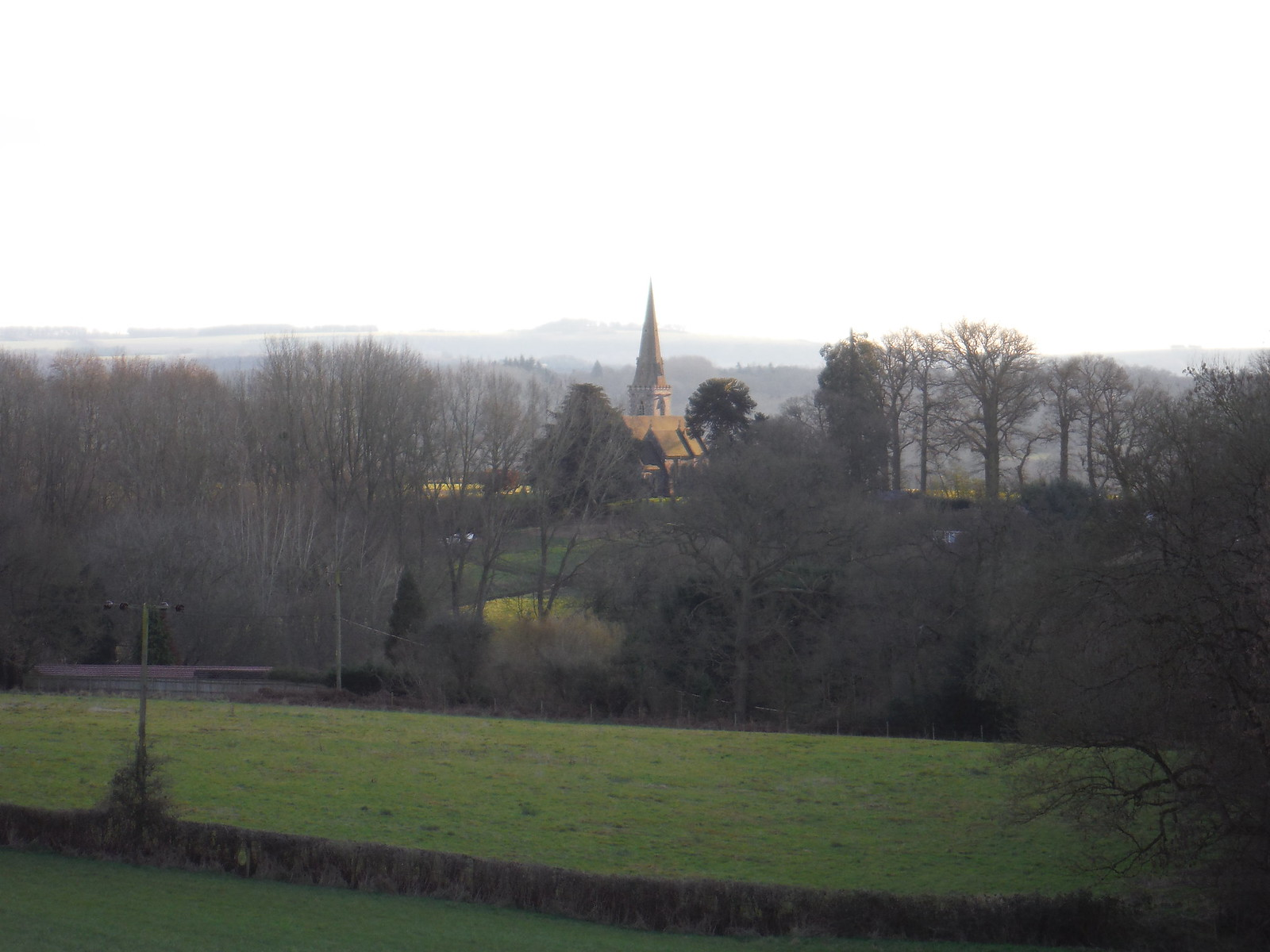 Midgham Church from Descent from Wootten's SWC Walk 117 Aldermaston to Woolhampton (via Stanford Dingley)