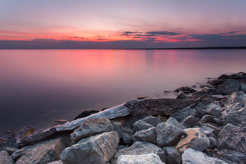 sunset seascape beach water landscape rocks calm sylvan