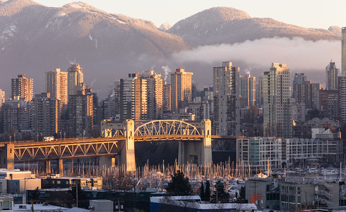 vancouver bc sunrise winter northamerica burrardbridge mountains canada coolsky westend britishcolumbia