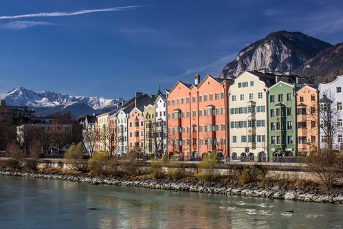 city morning winter mountains alps skyline sunrise river landscape austria österreich inn cities berge stadt alpen fluss sonnenaufgang morgen innsbruck