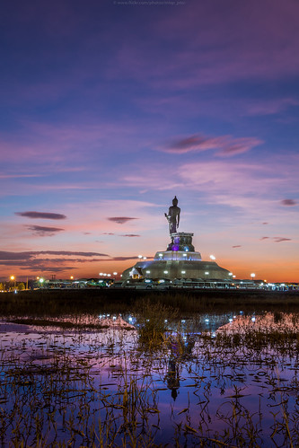 sunset landscape thailand buddha th khonkaen esan puttamonton