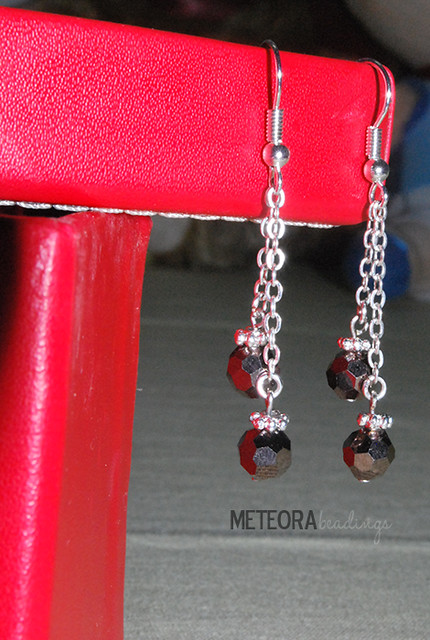 Earrings - black beads with silver chains and bead caps