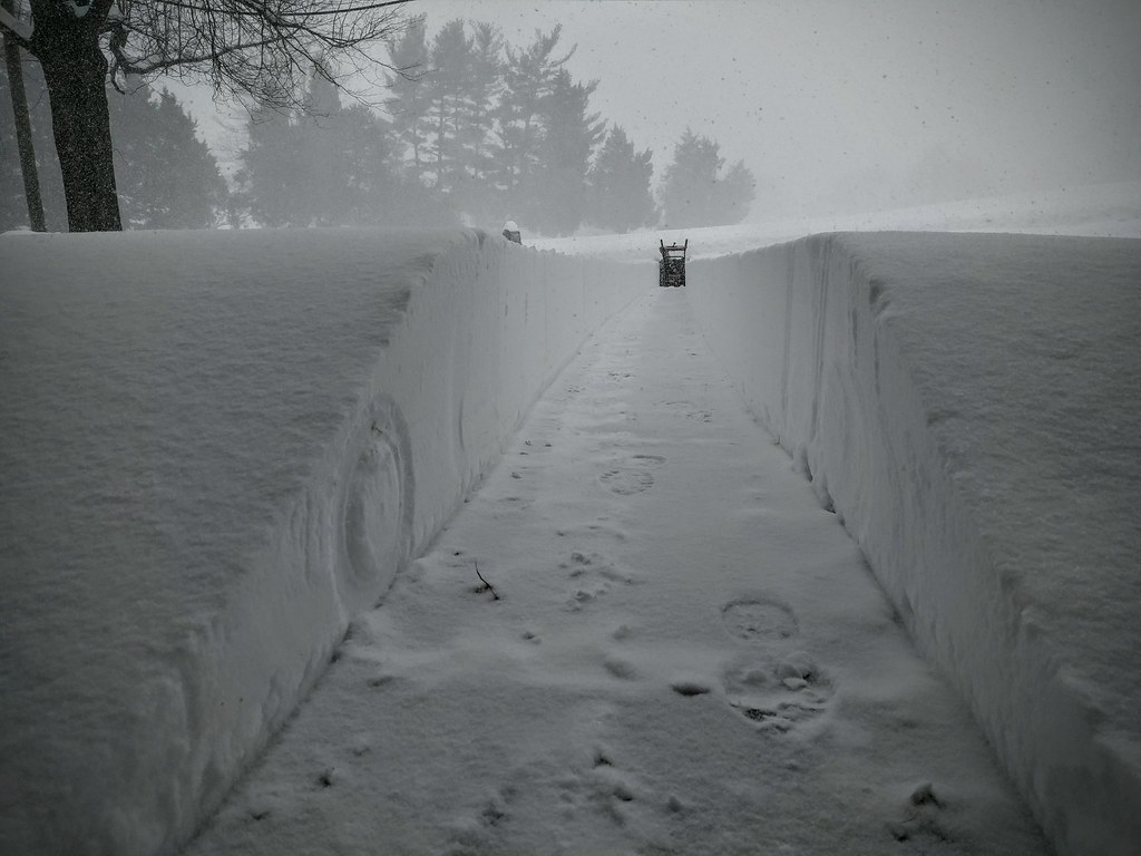A lonely path. Snow Blizzard at Temple United Methodist Church