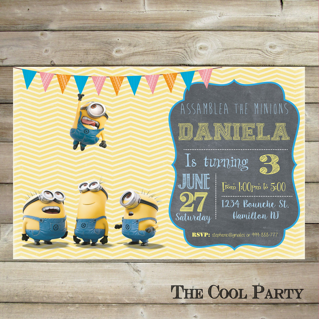 minion birthday invitation minion