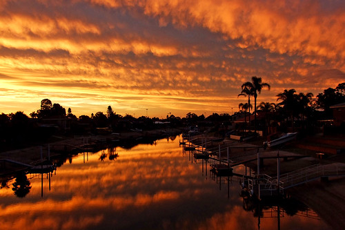 sunset sky reflection art silhouette clouds palms geotagged photography canal photo pair australia portmacquarie 3ofakind 2pair geo:lat=31427153 geo:lon=152887089