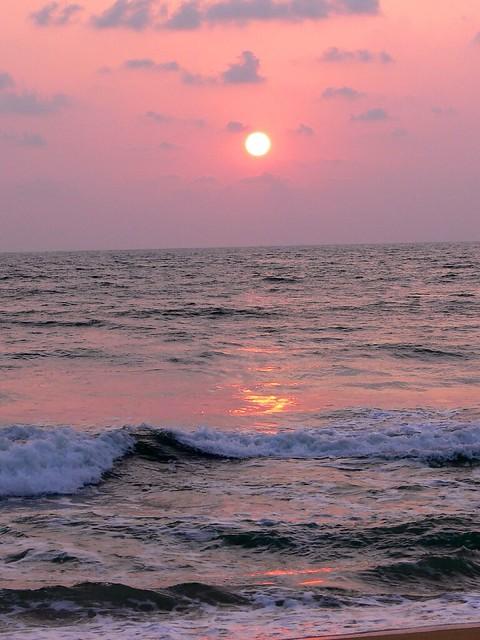 Waves and Sunset, Wadduwa, Sri Lanka.