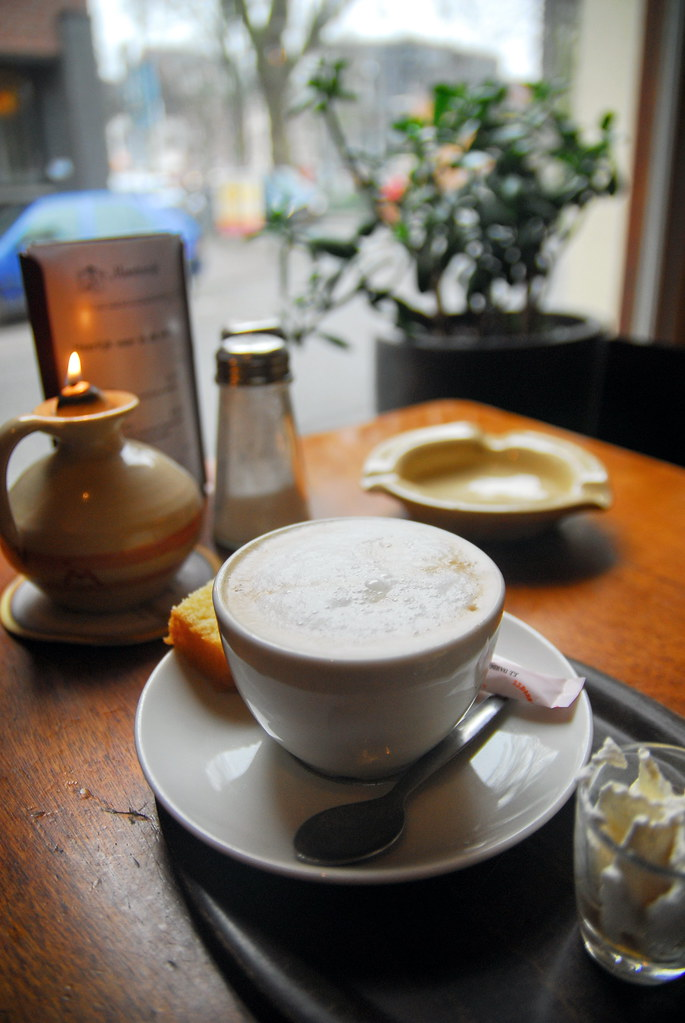 Having Coffee in small café in Roermond