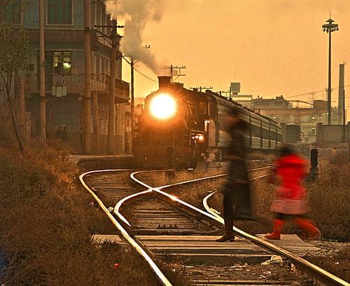china railroad sunset train asia industrial engine rail railway trains steam transportation locomotive railways gansu sy 282 1581 baiyin gassteam baiyinnonferrousmetalscompany