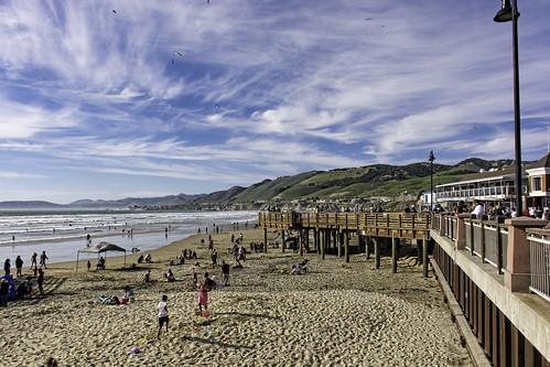 california sky people sun beach water clouds pier sand pacificocean boardwalk pismobeach stevejordan punahou77