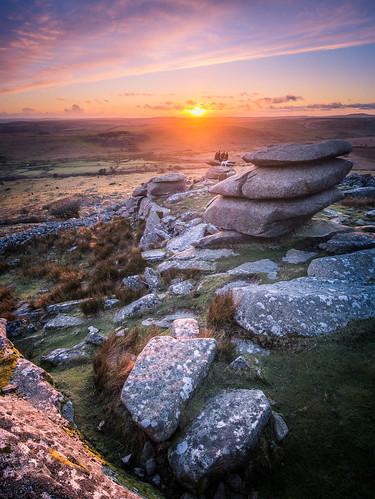 sunset rocks cornwall wideangle panasonic boulders granite tor ultrawide hdr bodminmoor minions cheesewring gx7 olympus918mmf4056