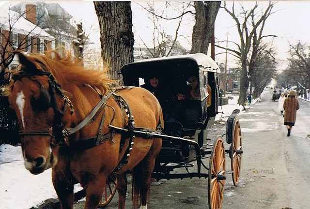 "Horse drawn carriage ride during 1981 ""Yuletide Traditions."""