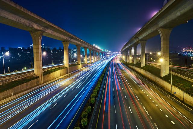 night landscpae of city-Long exposure of free way