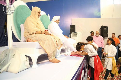 Children seeking blessings after their Skit