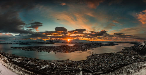 sunset panorama ngc arctic solnedgang tromsø fjellheisen