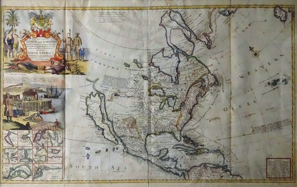 Map Of North America By Geographer Herman Moll Circa 1720