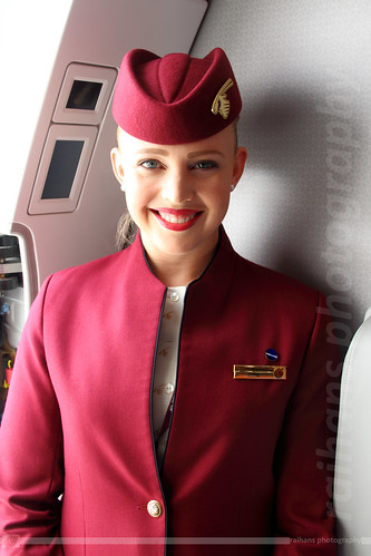 Cabin Crew - Qatar Airways - Airbus A350-941 XWB - A7-ALF - Dubai Air Show 2015 | by raihans photography