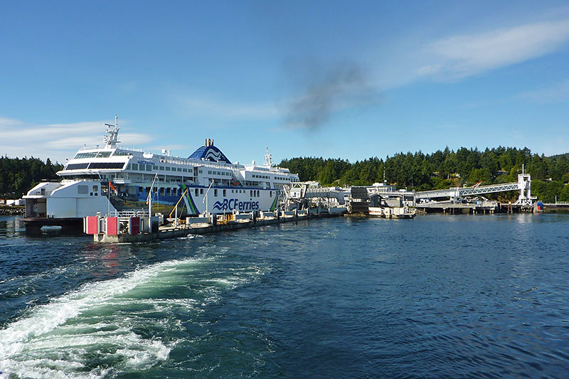 Ferry departing Swartz Bay in Victoria for Fulford Harbour on Saltspring Island, Gulf Islands, British Columbia