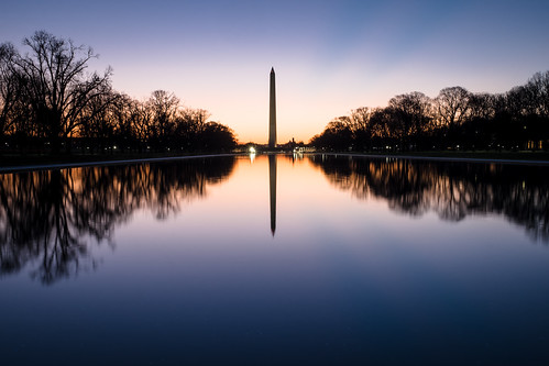 blue usa reflection monument pool sunrise mall reflecting us dc washington nationalmall washingtonmonument fujixe2
