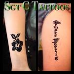 Henna tattoos: #Hibiscus &  #semperfortis #henna #flower #alwaysstrong #jagua #jaguatattoo #customhenna #hennatattoo #ヘンナ #ヘナ   #sgtctattoos #sgtctattooshawaii  #sgtctattooswaikiki   Visit us at #kingsvillage #waikiki #honolulu #hawaii #oahu #tattoo #pier