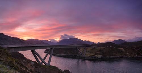 sunrise dawn scotland highlands panoramic naturalbeauty sutherland stitched grandtour kylesku kyleskubridge northwestscotland lochachàirnbhàin a894 nc500