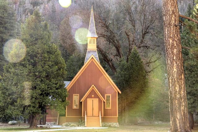 Yosemite Chapel With Flare