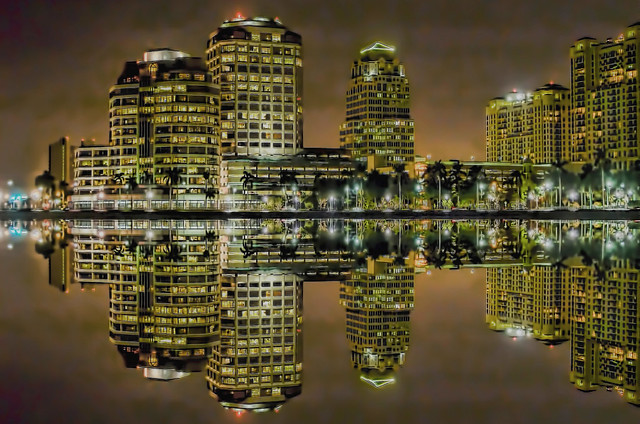 Reflections from downtown West Palm Beach, Florida, U.S.A.