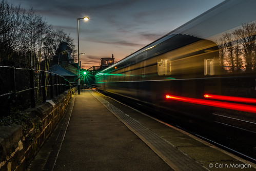 sunset station night railway trains northumberland lighttrails wylam