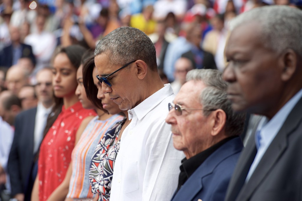 President Obama, the First Lady, and Cuban President Castro Observe Moment of Silence in Respect to Victims of Terrorist Attack on Brussels