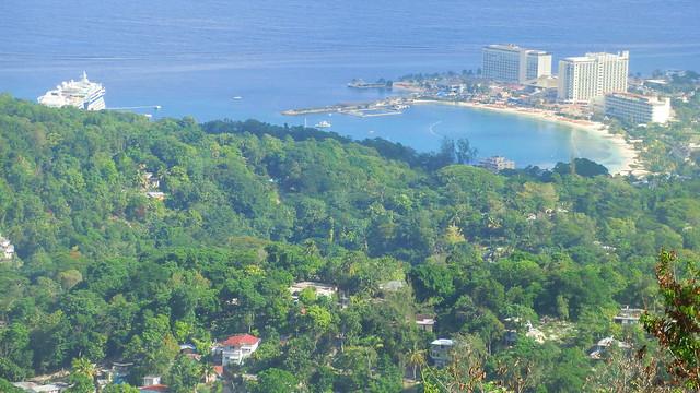 Jamaica: above Ocho Rios harbor & AIDAluna vessel