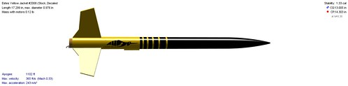 Estes Yellow Jacket (#2008)(Stock, Decaled) | by Model Rockets Rock!