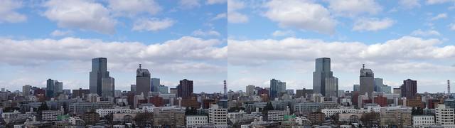 Central of Sendai, 4K UHD, stereo cross view