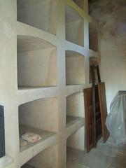 empty coffin shelves in the Berney mausoleum