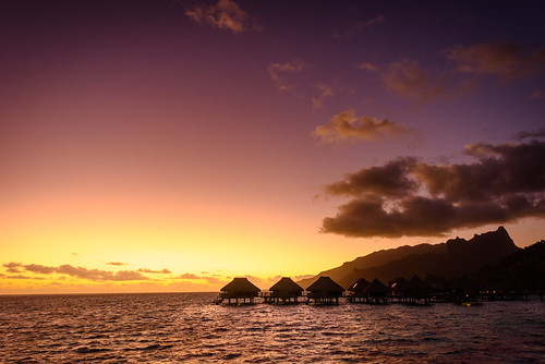 ocean sky water clouds sunrise tahiti motu bungalow moorea overwater