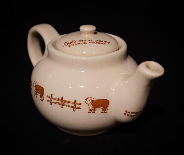 Rod's Steak House, Williams, Ariz. Individual Tea Pot by Wallace China, 1942